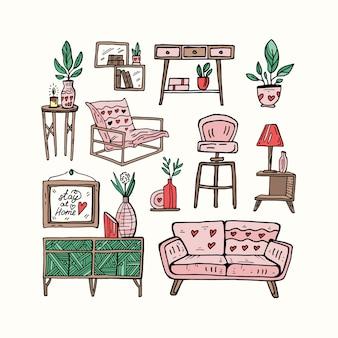 Ilustração de doodle fofo para casa aconchegante