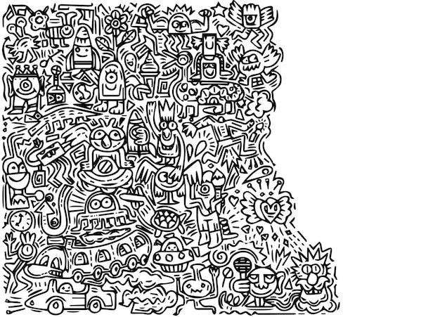 Ilustração de doodle monstro bonito