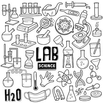 Ilustração de doodle preto e branco de ciências de laboratório clínico.