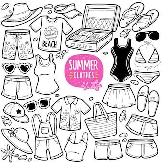 Ilustração de doodle preto e branco de roupas e acessórios de verão