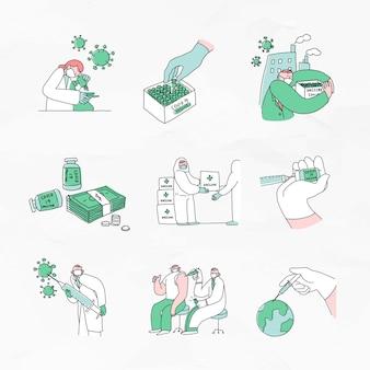 Ilustração de doodles de desenvolvimento de vacina covid 19