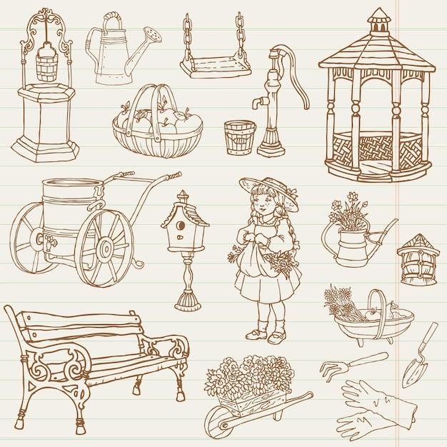 Ilustração de doodles desenhados à mão de jardinagem