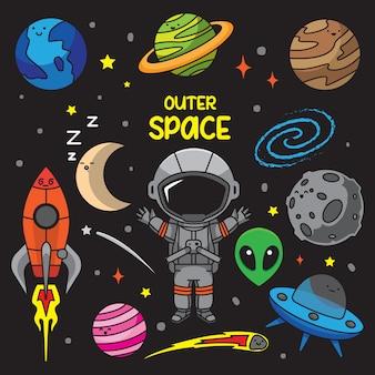 Ilustração de doodles do espaço sideral