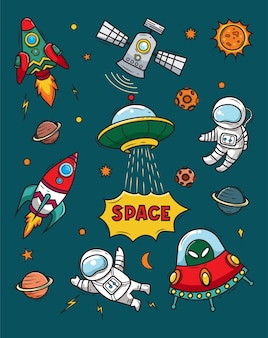 Ilustração de doodles do espaço
