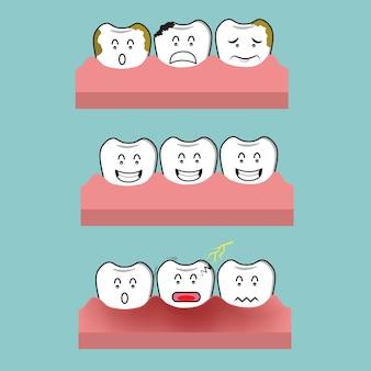 Ilustração de dor de dente, cárie dentária e conceito dente saudável.