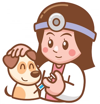 Ilustração de doutor do animal de estimação dos desenhos animados