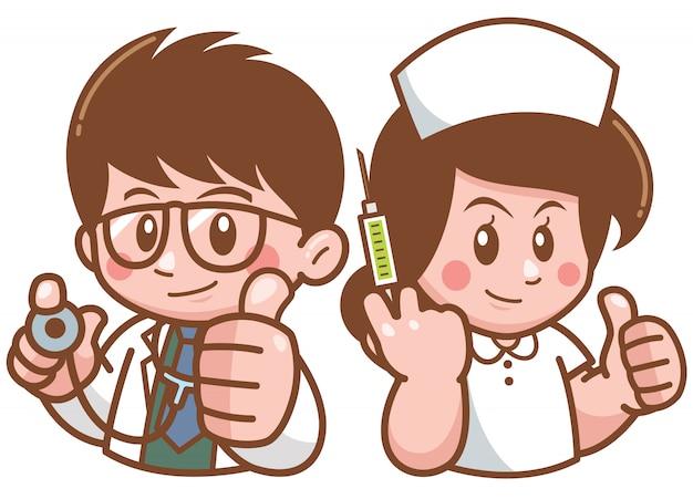 Ilustração de doutor dos desenhos animados e enfermeira