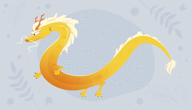 Ilustração de dragão dourado asiático para cartão postal dragão chinês voador no fundo padrão
