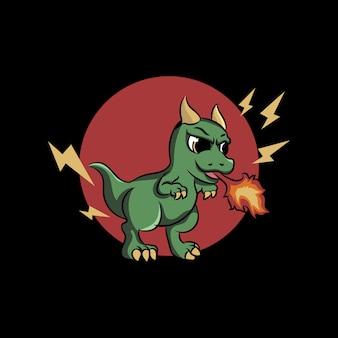 Ilustração de dragão fofo cuspindo fogo