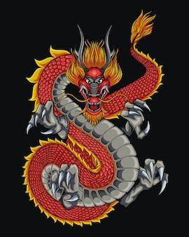 Ilustração de dragão japonês