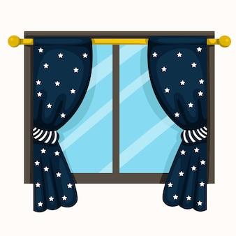 Ilustração, de, drapejar, e, janelas