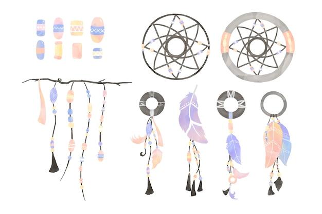 Ilustração de dreamcatcher decorada com penas