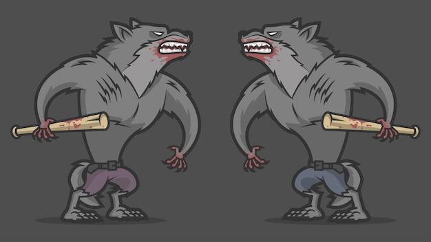 Ilustração de duas lutas agressivas de lobisomem, formato eps 10
