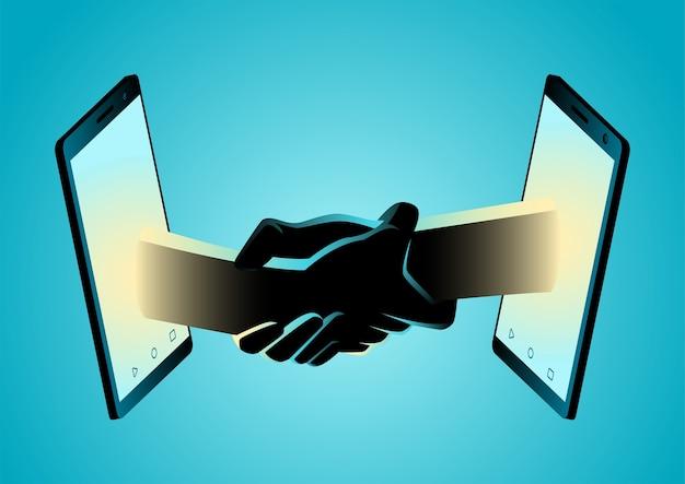 Ilustração de duas mãos fortemente abraçadas através do smartphone