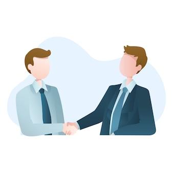 Ilustração de duas mãos tremendo empresário