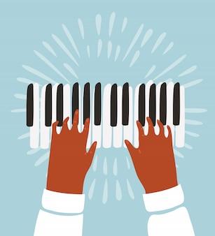 Ilustração de duas mãos, um piano e notas musicais