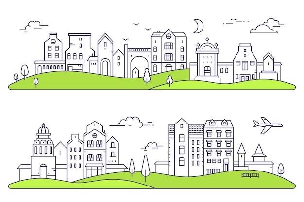 Ilustração de duas paisagens detalhadas da cidade