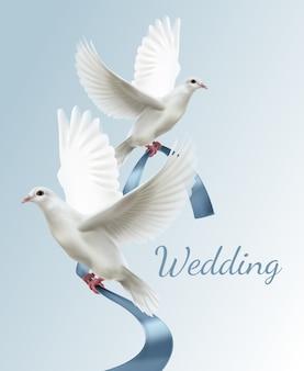 Ilustração de duas pombas brancas com fita azul conceito de convite de casamento