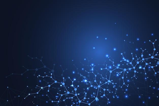 Ilustração de dupla hélice de dna de fundo de molécula científica com profundidade de campo rasa. papel de parede ou banner misterioso com moléculas de dna. vetor de informação genética