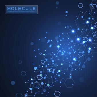 Ilustração de dupla hélice de dna de fundo de molécula científica com profundidade de campo rasa. papel de parede ou banner misterioso com moléculas de dna. vetor de informação genética.