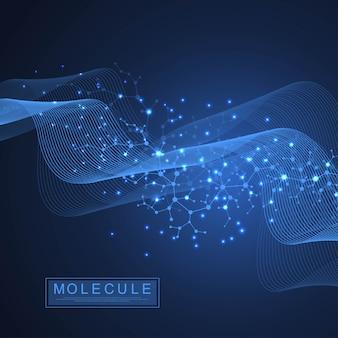 Ilustração de dupla hélice de dna de fundo de molécula científica com profundidade de campo rasa.