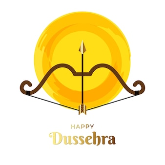 Ilustração de dussehra feliz com arco e flecha