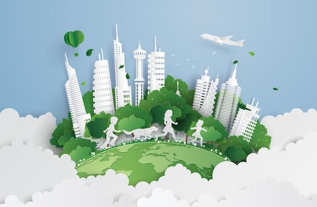 Ilustração de eco e meio ambiente