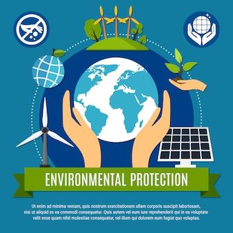 Ilustração de ecologia e poluição