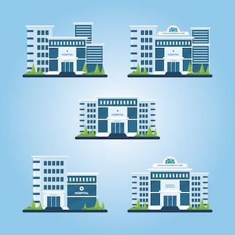 Ilustração de edifício de hospital moderno