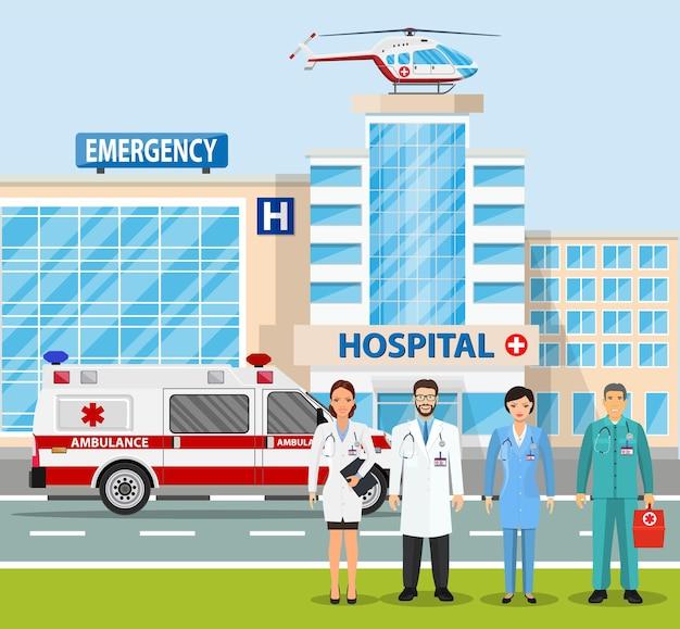 Ilustração de edifício de hospital