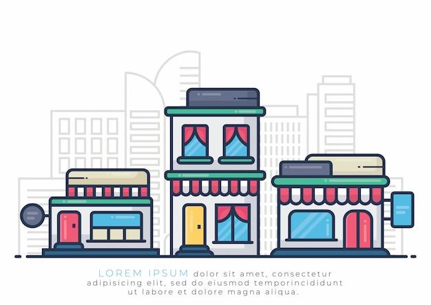 Ilustração de edifício para hotel e loja