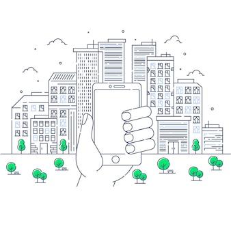 Ilustração de edifícios com a mão e smartphone em estilo de linha