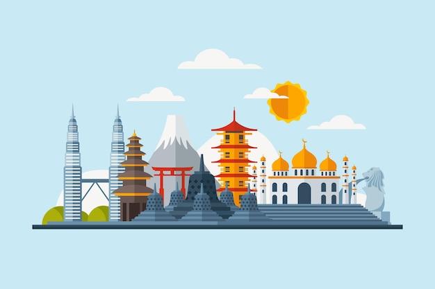 Ilustração de edifícios da asean