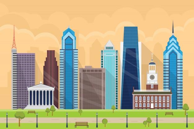 Ilustração de edifícios de alto escalão