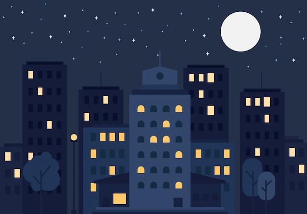 Ilustração de edifícios de noite de vida de cidade