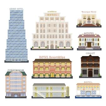 Ilustração de edifícios do hotel.