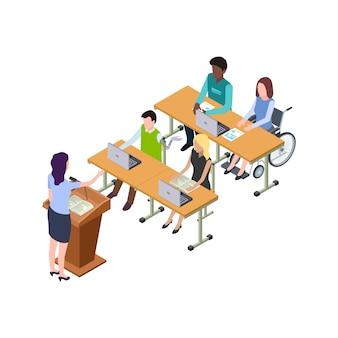 Ilustração de educação acessível para pessoas com deficiência