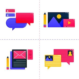 Ilustração de educação, aprendizagem e bolsa de estudos com comunicação e bate-papo de balão.