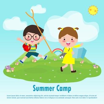 Ilustração de educação de acampamento de verão crianças