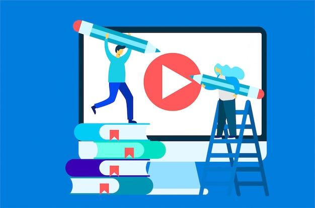 Ilustração de educação de curso on-line