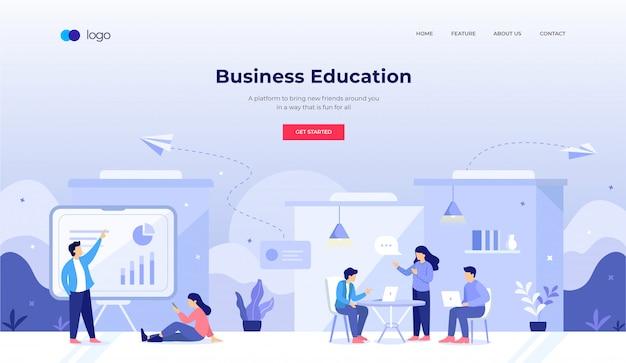 Ilustração de educação empresarial para o design do site