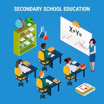 Ilustração de educação escolar secundária