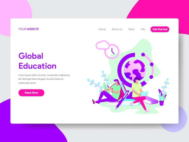 Ilustração de educação global para páginas da web