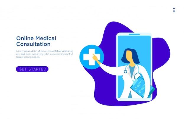 Ilustração de educação médica on-line
