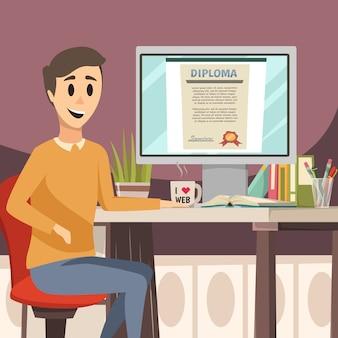 Ilustração de educação on-line