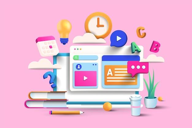 Ilustração de educação online em fundo rosa