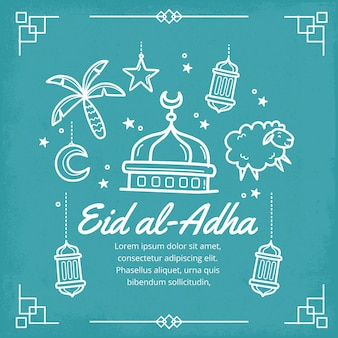 Ilustração de eid al-adha desenhada à mão