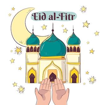 Ilustração de eid al-fitr desenhada à mão