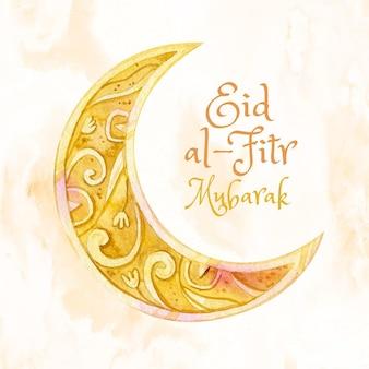 Ilustração de eid al-fitr em aquarela pintada à mão
