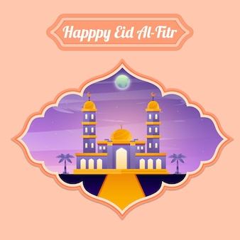 Ilustração de eid al-fitr ramadan kareem mesquita aidilfitri